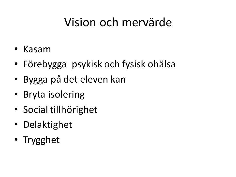 Vision och mervärde • Kasam • Förebygga psykisk och fysisk ohälsa • Bygga på det eleven kan • Bryta isolering • Social tillhörighet • Delaktighet • Tr