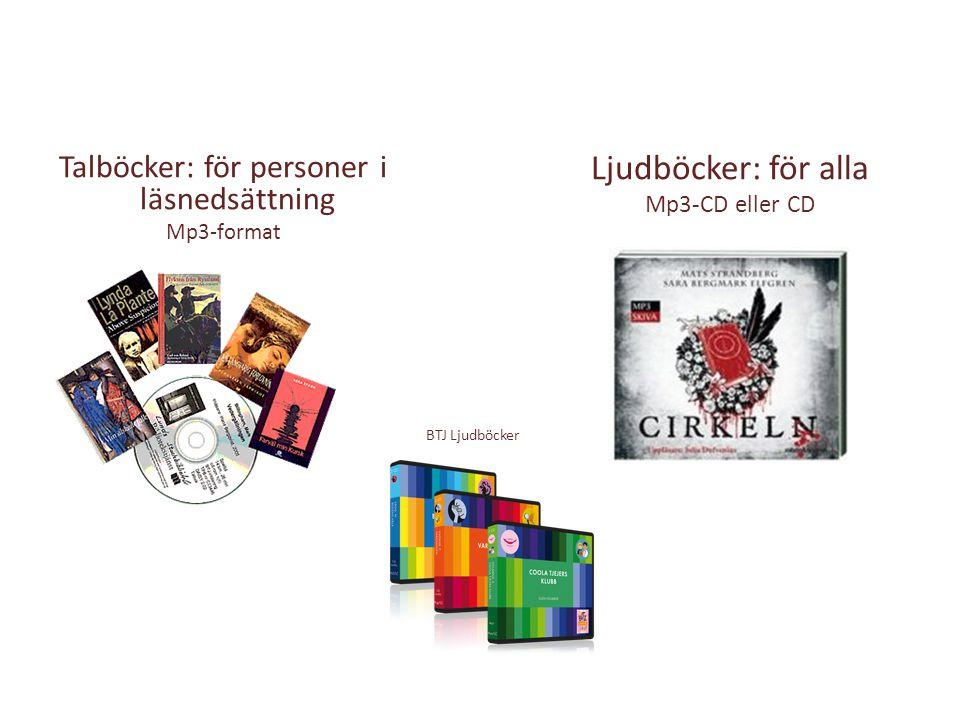 Talböcker: för personer i läsnedsättning Mp3-format Ljudböcker: för alla Mp3-CD eller CD BTJ Ljudböcker