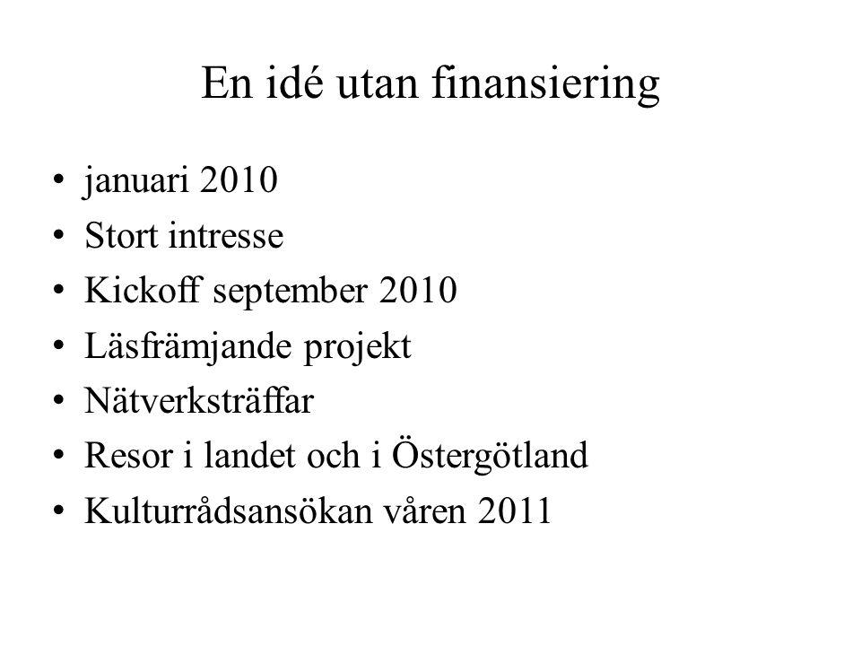 En idé utan finansiering • januari 2010 • Stort intresse • Kickoff september 2010 • Läsfrämjande projekt • Nätverksträffar • Resor i landet och i Östergötland • Kulturrådsansökan våren 2011