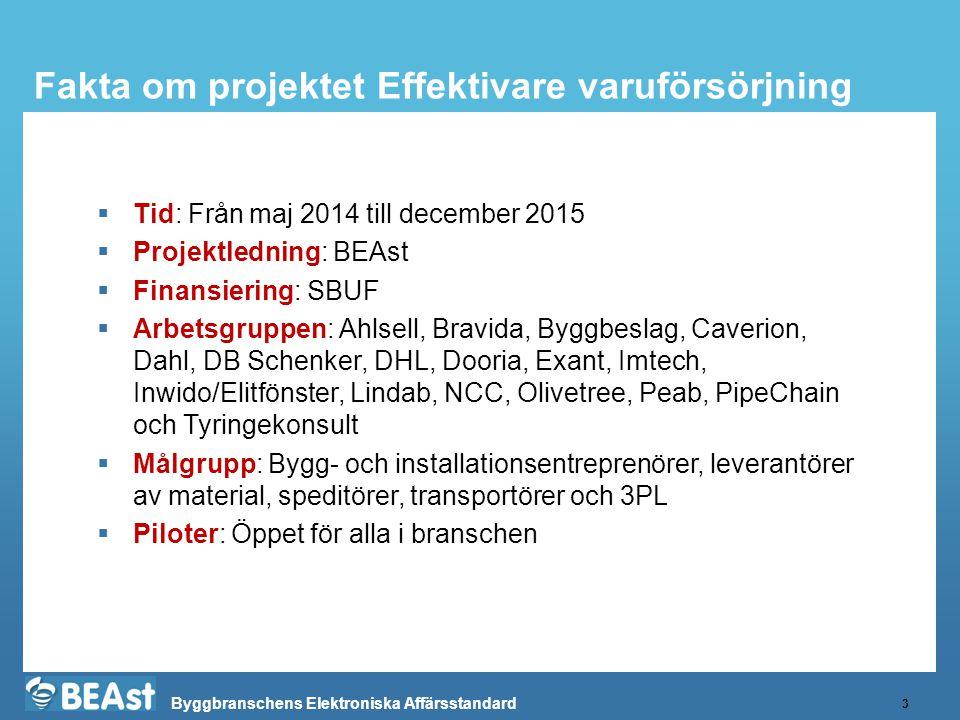 Byggbranschens Elektroniska Affärsstandard Fakta om projektet Effektivare varuförsörjning 3  Tid: Från maj 2014 till december 2015  Projektledning: