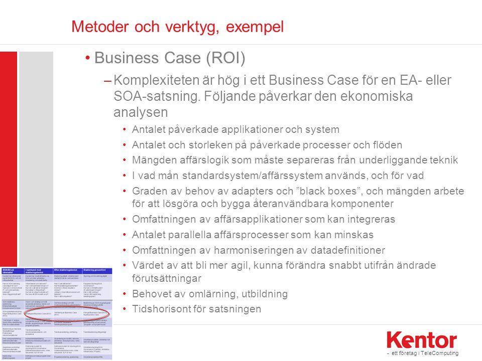 - ett företag i TeleComputing Metoder och verktyg, exempel •Business Case (ROI) –Komplexiteten är hög i ett Business Case för en EA- eller SOA-satsnin
