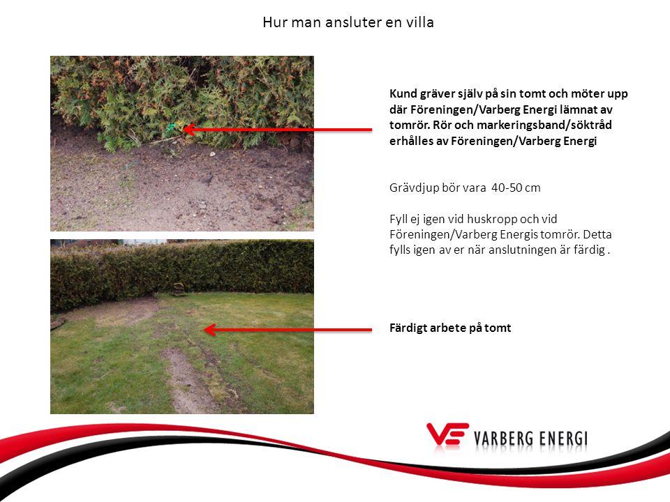 Hur man ansluter en villa Kund gräver själv på sin tomt och möter upp där Föreningen/Varberg Energi lämnat av tomrör.