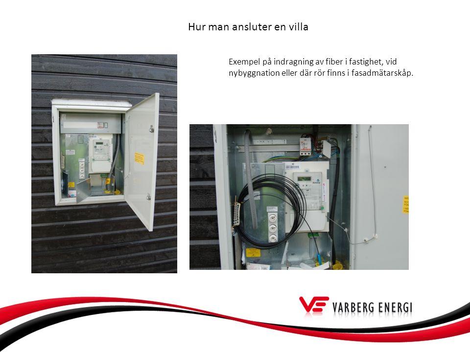 Hur man ansluter en villa Exempel på indragning av fiber i fastighet, vid nybyggnation eller där rör finns i fasadmätarskåp.