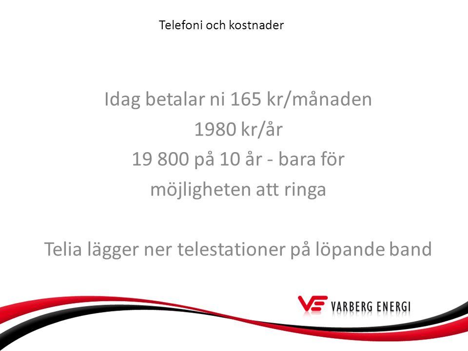 Telefoni och kostnader Idag betalar ni 165 kr/månaden 1980 kr/år 19 800 på 10 år - bara för möjligheten att ringa Telia lägger ner telestationer på löpande band