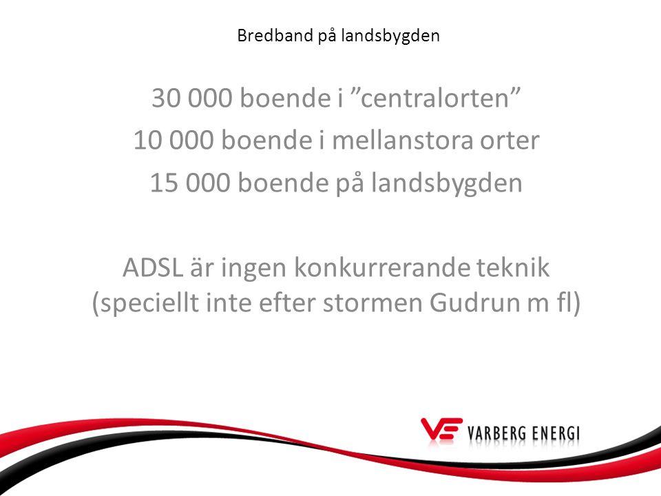 Bredband på landsbygden 30 000 boende i centralorten 10 000 boende i mellanstora orter 15 000 boende på landsbygden ADSL är ingen konkurrerande teknik (speciellt inte efter stormen Gudrun m fl)