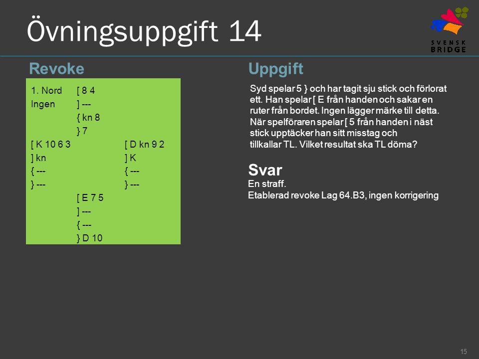 Övningsuppgift 14 RevokeUppgift 1. Nord[ 8 4 Ingen] --- { kn 8 } 7 [ K 10 6 3[ D kn 9 2 ] kn] K{ ---} --- [ E 7 5 ] --- { --- } D 10 Syd spelar 5 } oc