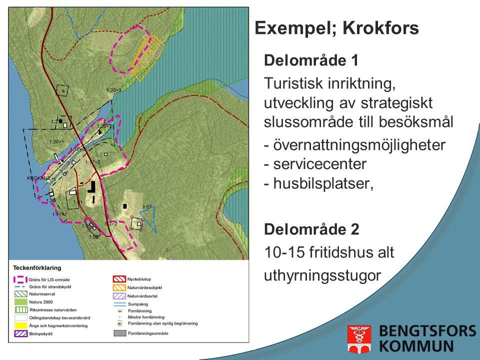 Exempel; Krokfors Delområde 1 Turistisk inriktning, utveckling av strategiskt slussområde till besöksmål - övernattningsmöjligheter - servicecenter - husbilsplatser, u Delområde 2 10-15 fritidshus alt uthyrningsstugor