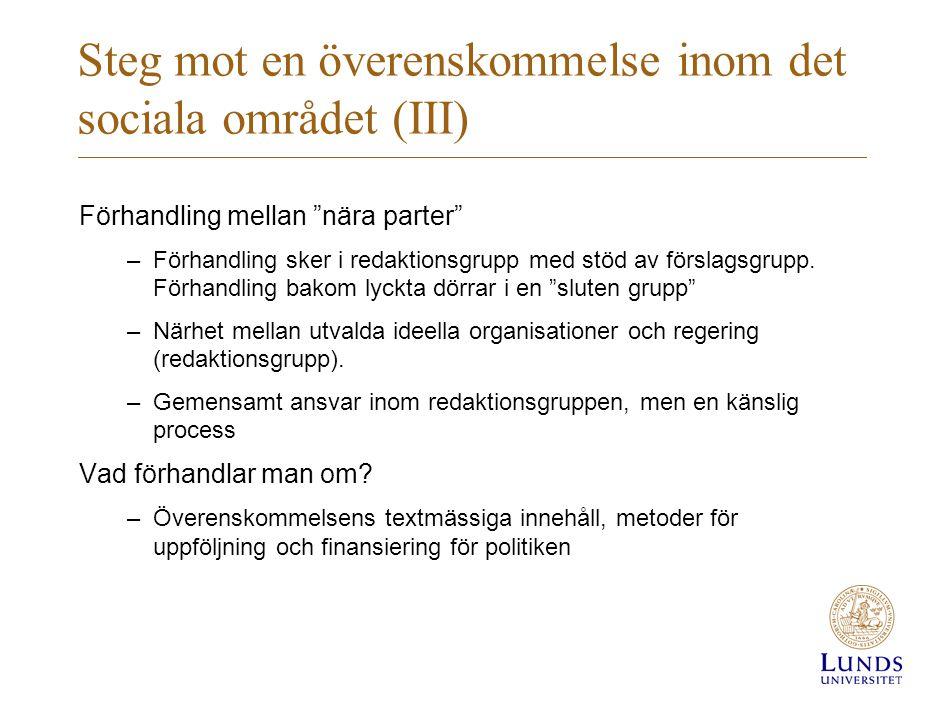 """Steg mot en överenskommelse inom det sociala området (III) Förhandling mellan """"nära parter"""" –Förhandling sker i redaktionsgrupp med stöd av förslagsgr"""