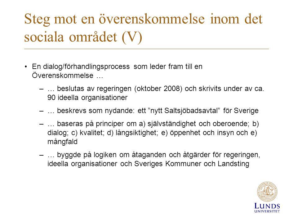 Steg mot en överenskommelse inom det sociala området (V) •En dialog/förhandlingsprocess som leder fram till en Överenskommelse … –… beslutas av regeri