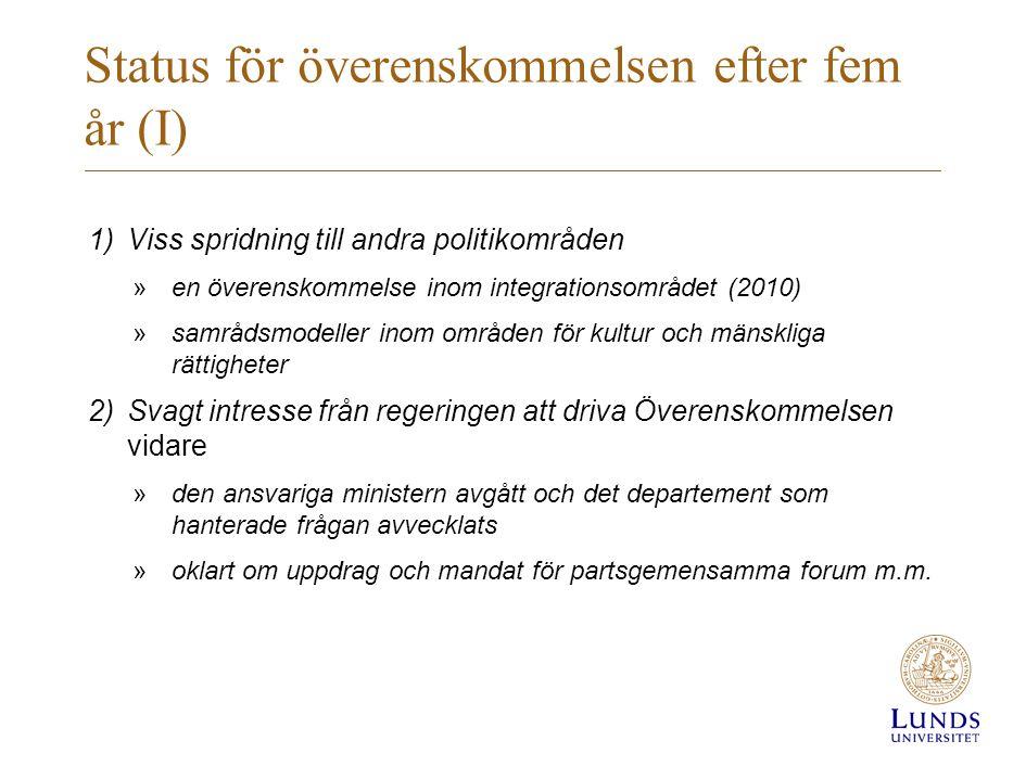 Status för överenskommelsen efter fem år (I) 1)Viss spridning till andra politikområden »en överenskommelse inom integrationsområdet (2010) »samrådsmo