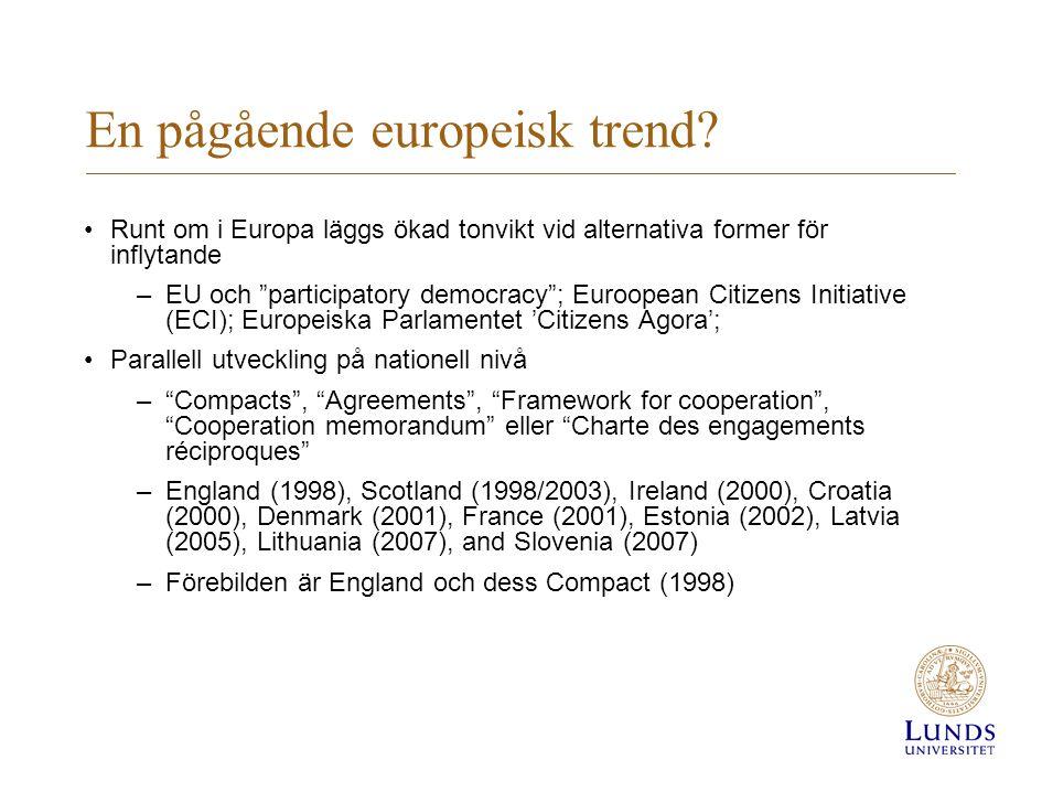"""En pågående europeisk trend? •Runt om i Europa läggs ökad tonvikt vid alternativa former för inflytande –EU och """"participatory democracy""""; Euroopean C"""