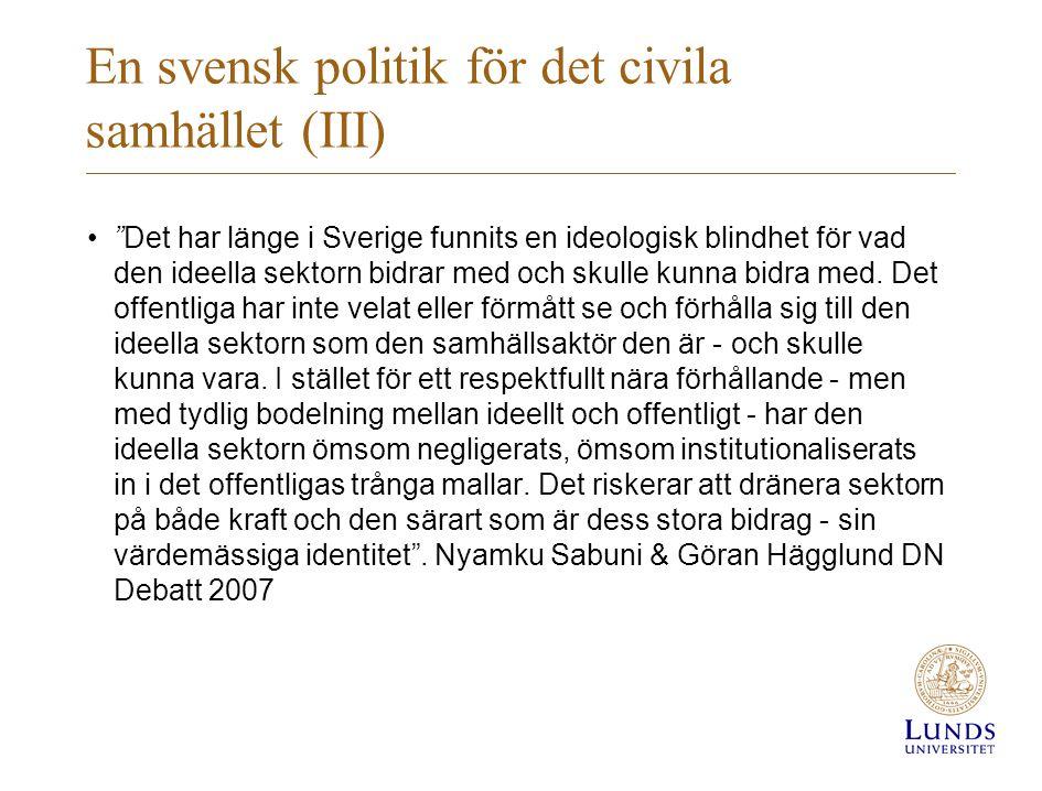 En svensk politik för det civila samhället (IV) … men bakgrunden till en svensk överenskommelse även ideella organisationers lobbyingarbete –Enstaka organisationer uppvaktat under lång tid –Inspiration från andra internationella modeller (ex.