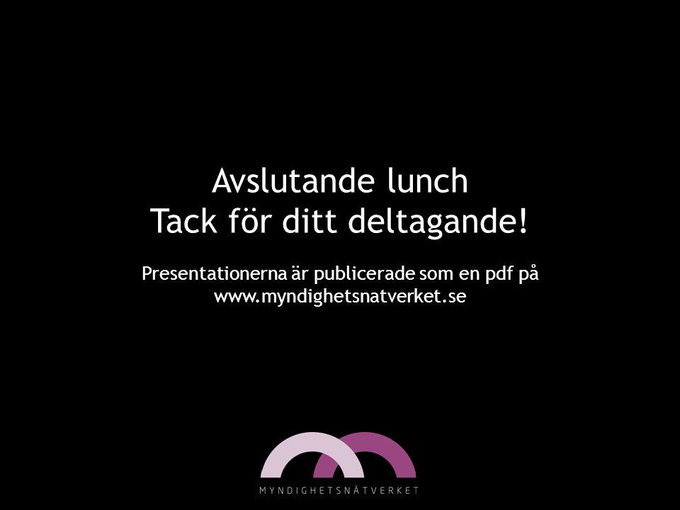 Avslutande lunch Tack för ditt deltagande! Presentationerna är publicerade som en pdf på www.myndighetsnatverket.se
