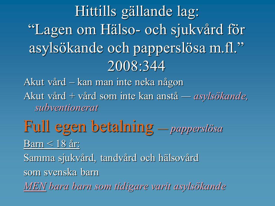 """Hittills gällande lag: """"Lagen om Hälso- och sjukvård för asylsökande och papperslösa m.fl."""" 2008:344 Akut vård – kan man inte neka någon Akut vård + v"""