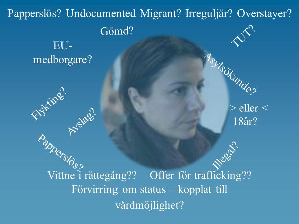 Flykting? Asylsökande? Papperslös? Gömd? Illegal? TUT? Avslag? Vittne i rättegång?? Offer för trafficking?? Förvirring om status – kopplat till vårdmö
