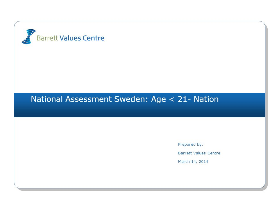 National Assessment Sweden: Age < 21- Nation Prepared by: Barrett Values Centre March 14, 2014