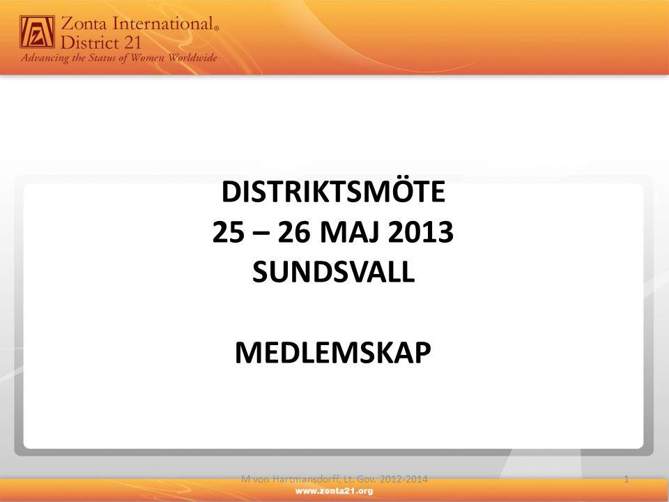 DISTRIKTSMÖTE 25 – 26 MAJ 2013 SUNDSVALL MEDLEMSKAP 1M von Hartmansdorff, Lt. Gov. 2012-2014