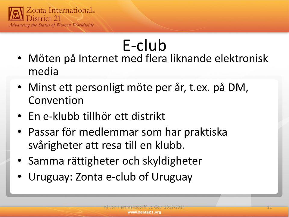 E-club • Möten på Internet med flera liknande elektronisk media • Minst ett personligt möte per år, t.ex. på DM, Convention • En e-klubb tillhör ett d