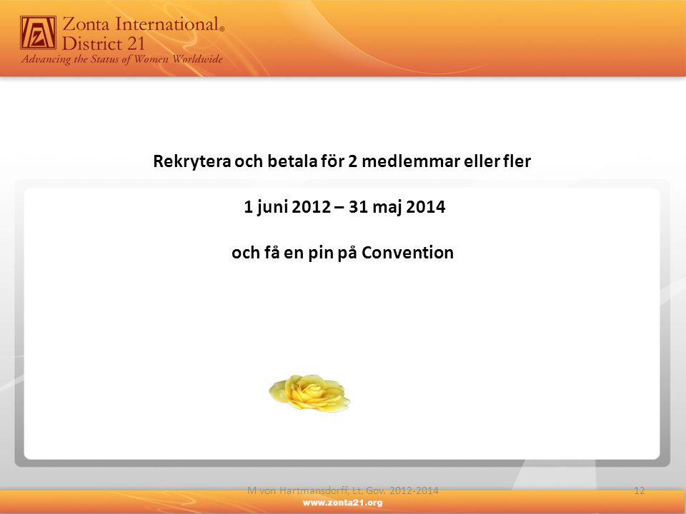 Rekrytera och betala för 2 medlemmar eller fler 1 juni 2012 – 31 maj 2014 och få en pin på Convention 12M von Hartmansdorff, Lt. Gov. 2012-2014