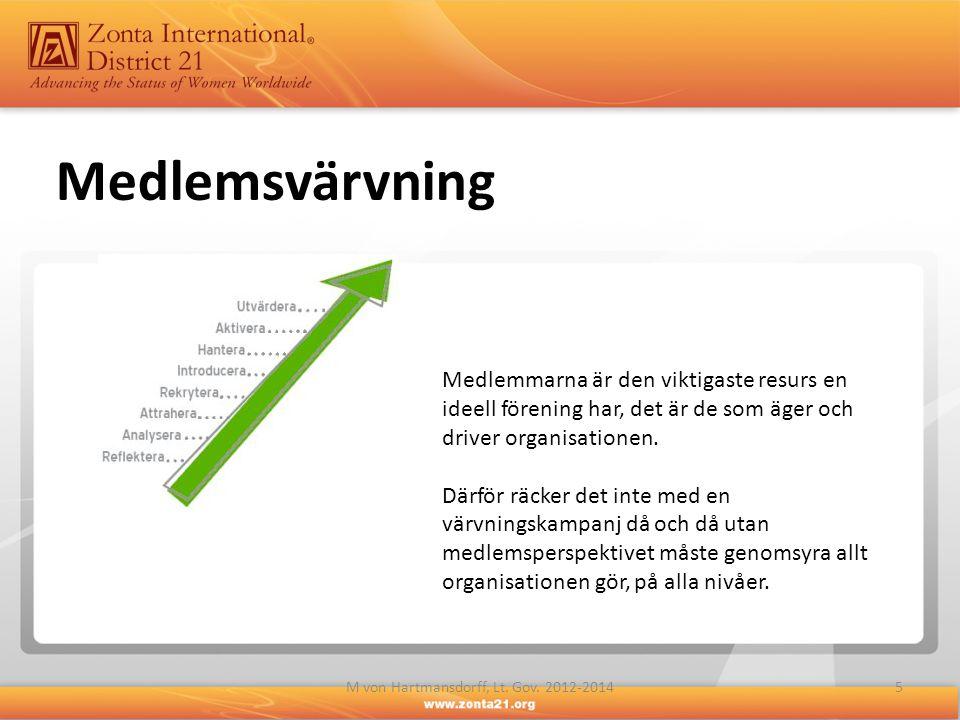 5M von Hartmansdorff, Lt. Gov. 2012-2014 Medlemsvärvning Medlemmarna är den viktigaste resurs en ideell förening har, det är de som äger och driver or