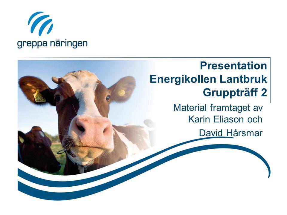 Presentation Energikollen Lantbruk Gruppträff 2 Material framtaget av Karin Eliason och David Hårsmar