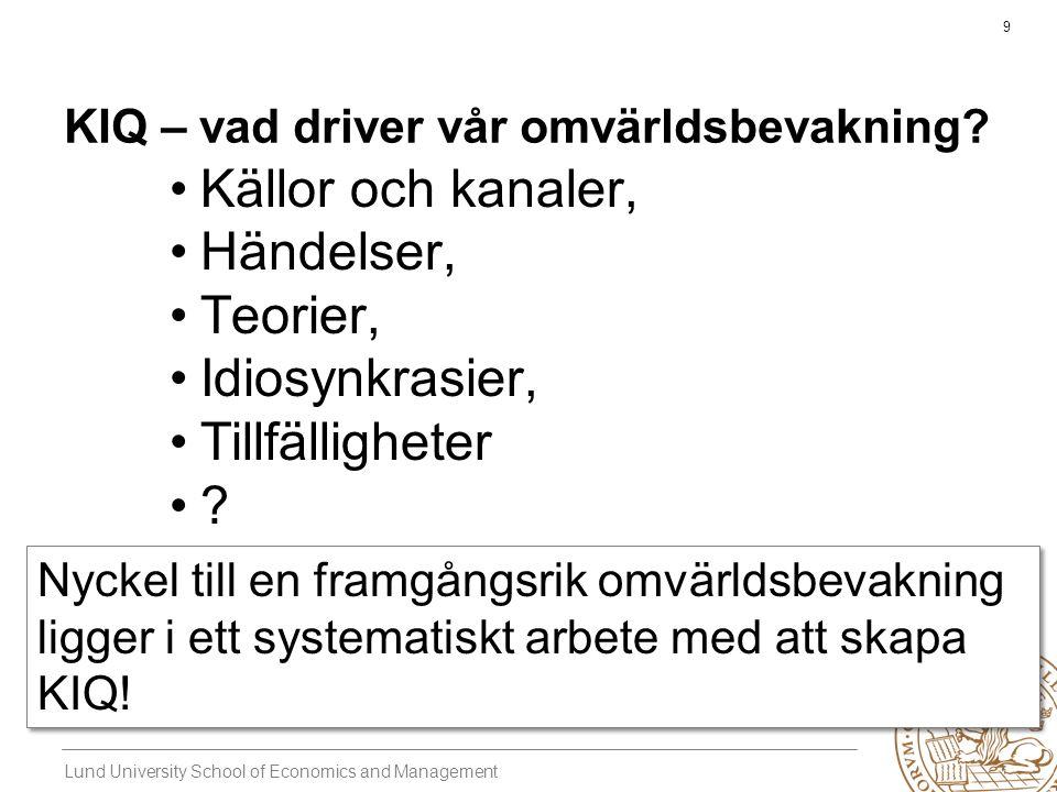Lund University School of Economics and Management 9 KIQ – vad driver vår omvärldsbevakning.