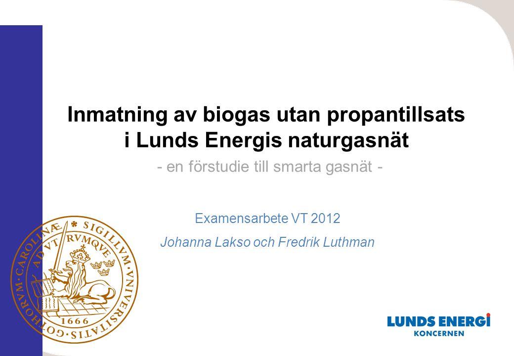 Examensarbete VT 2012 Johanna Lakso och Fredrik Luthman Inmatning av biogas utan propantillsats i Lunds Energis naturgasnät - en förstudie till smarta