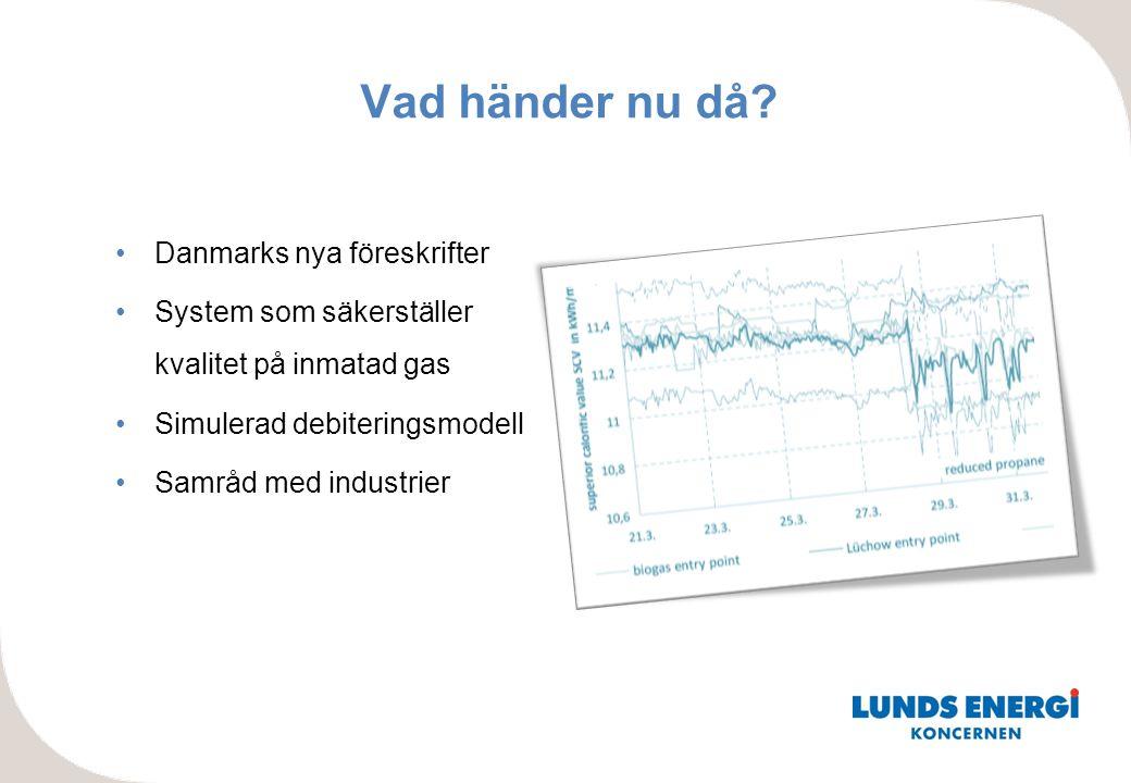 Vad händer nu då? •Danmarks nya föreskrifter •System som säkerställer kvalitet på inmatad gas •Simulerad debiteringsmodell •Samråd med industrier