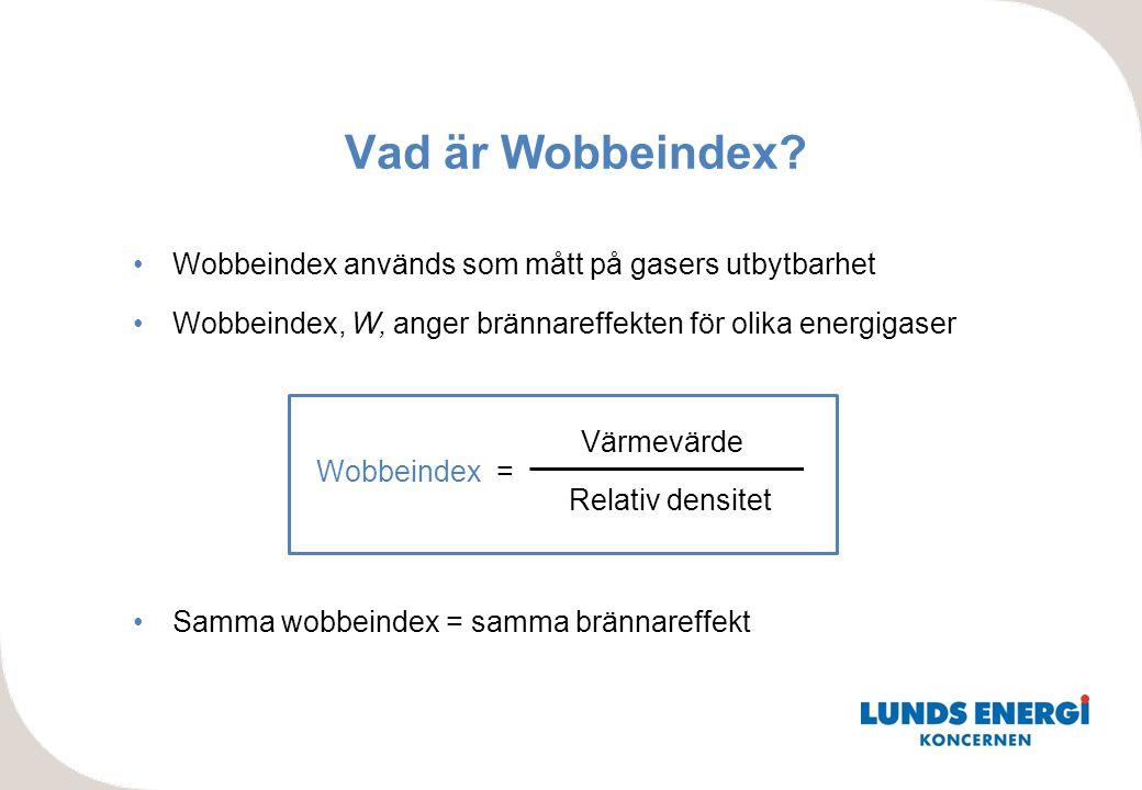 •Wobbeindex används som mått på gasers utbytbarhet •Wobbeindex, W, anger brännareffekten för olika energigaser •Samma wobbeindex = samma brännareffekt