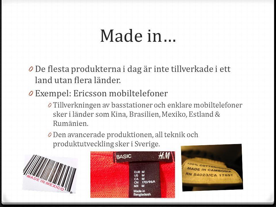 Made in… 0 De flesta produkterna i dag är inte tillverkade i ett land utan flera länder. 0 Exempel: Ericsson mobiltelefoner 0 Tillverkningen av bassta