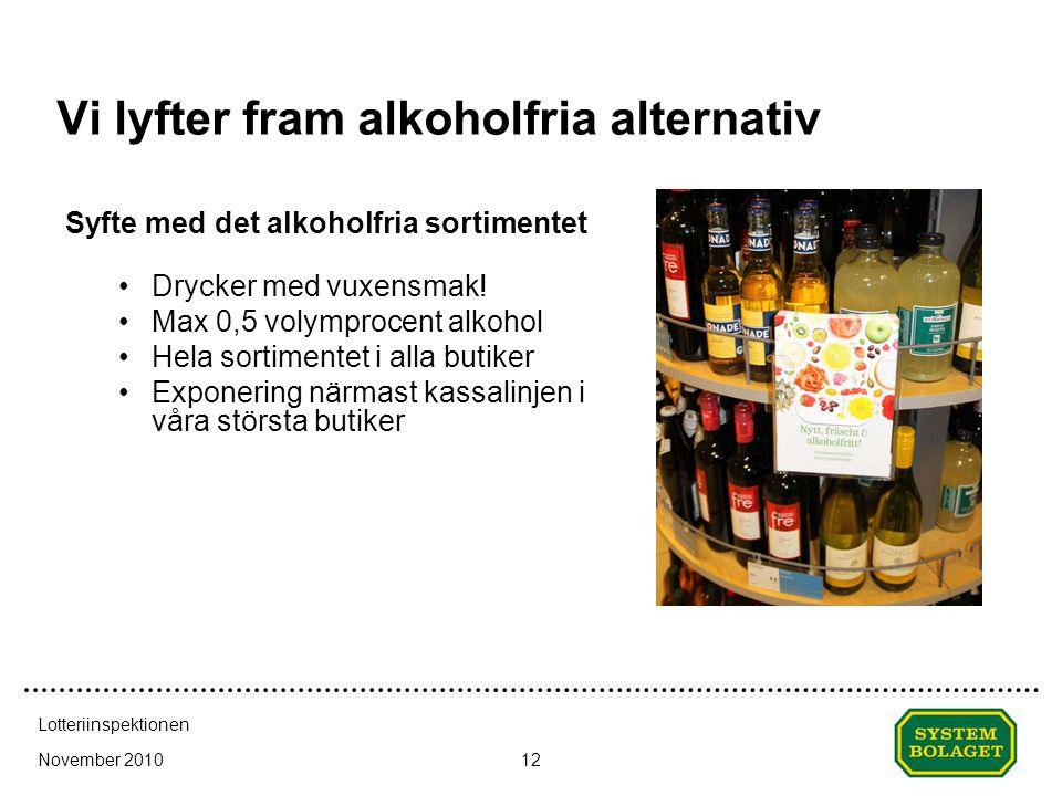 November 2010 Lotteriinspektionen 12 Vi lyfter fram alkoholfria alternativ Syfte med det alkoholfria sortimentet •Drycker med vuxensmak! •Max 0,5 voly