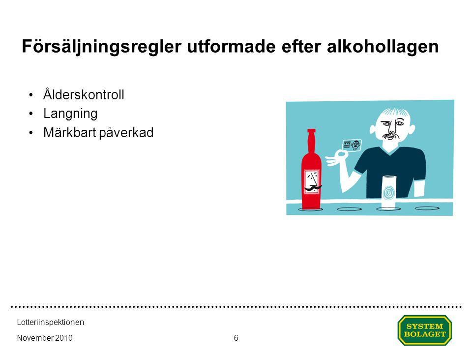 November 2010 Lotteriinspektionen 6 Försäljningsregler utformade efter alkohollagen •Ålderskontroll •Langning •Märkbart påverkad