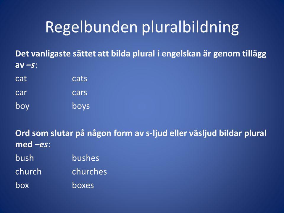 Regelbunden pluralbildning Det vanligaste sättet att bilda plural i engelskan är genom tillägg av –s: catcats carcars boyboys Ord som slutar på någon