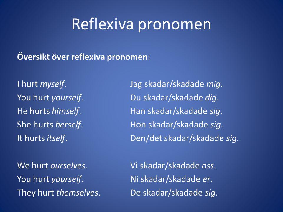 Reflexiva pronomen Översikt över reflexiva pronomen: I hurt myself.Jag skadar/skadade mig. You hurt yourself.Du skadar/skadade dig. He hurts himself.H