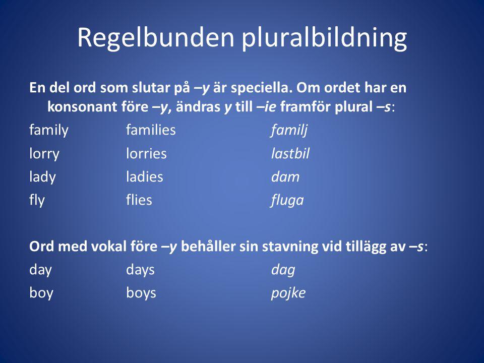 Regelbunden pluralbildning En del ord som slutar på –y är speciella. Om ordet har en konsonant före –y, ändras y till –ie framför plural –s: familyfam