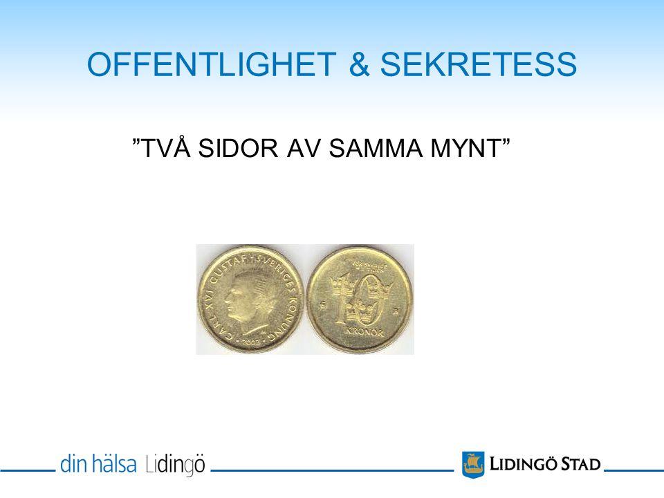 OFFENTLIGHET & SEKRETESS TVÅ SIDOR AV SAMMA MYNT