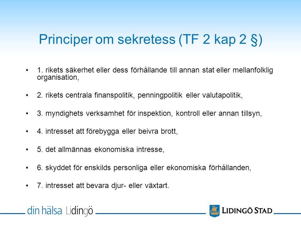 Principer om sekretess (TF 2 kap 2 §) •1.