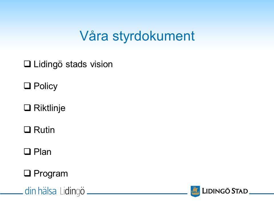 Våra styrdokument  Lidingö stads vision  Policy  Riktlinje  Rutin  Plan  Program