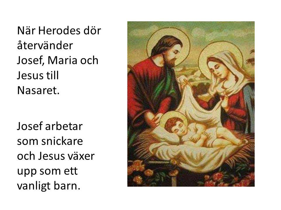 När Herodes dör återvänder Josef, Maria och Jesus till Nasaret. Josef arbetar som snickare och Jesus växer upp som ett vanligt barn.