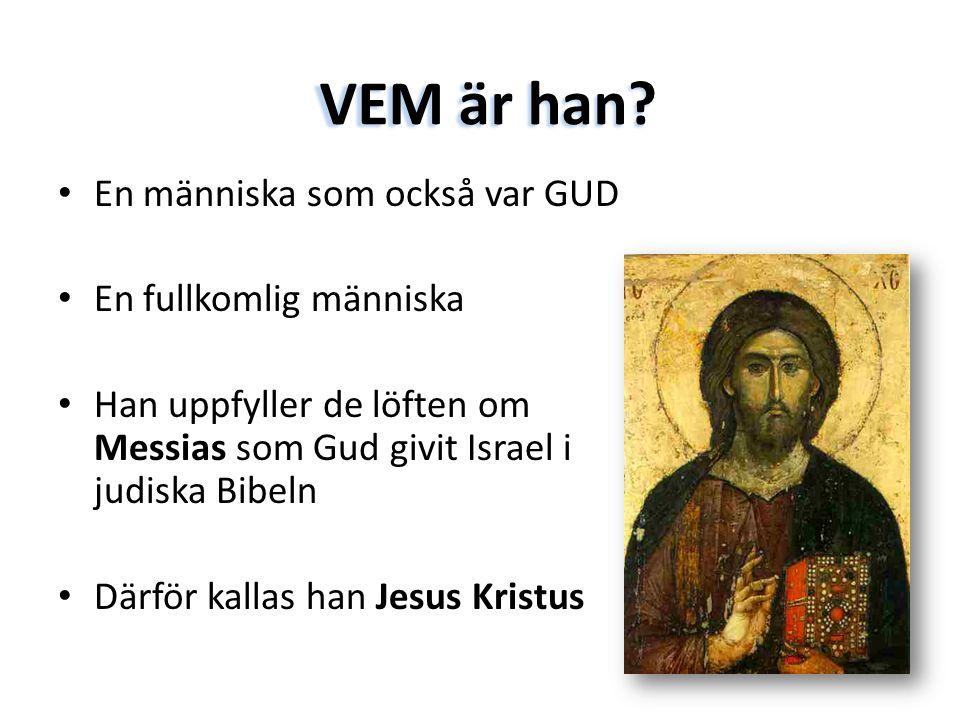 VEM är han? • En människa som också var GUD • En fullkomlig människa • Han uppfyller de löften om Messias som Gud givit Israel i judiska Bibeln • Därf