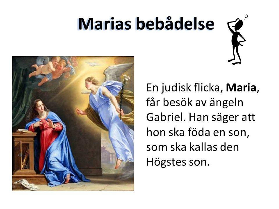 En judisk flicka, Maria, får besök av ängeln Gabriel. Han säger att hon ska föda en son, som ska kallas den Högstes son. Marias bebådelse