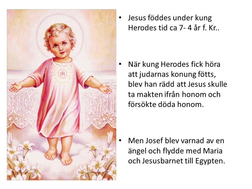 • Jesus föddes under kung Herodes tid ca 7- 4 år f. Kr.. • När kung Herodes fick höra att judarnas konung fötts, blev han rädd att Jesus skulle ta mak