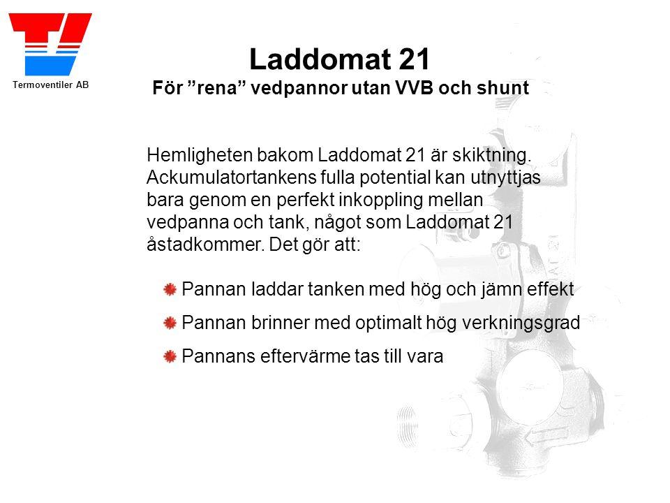 """Termoventiler AB Laddomat 21 För """"rena"""" vedpannor utan VVB och shunt Flyttar energin till ackumulatortanken vid eldning. Varmvatten och värmen till ra"""