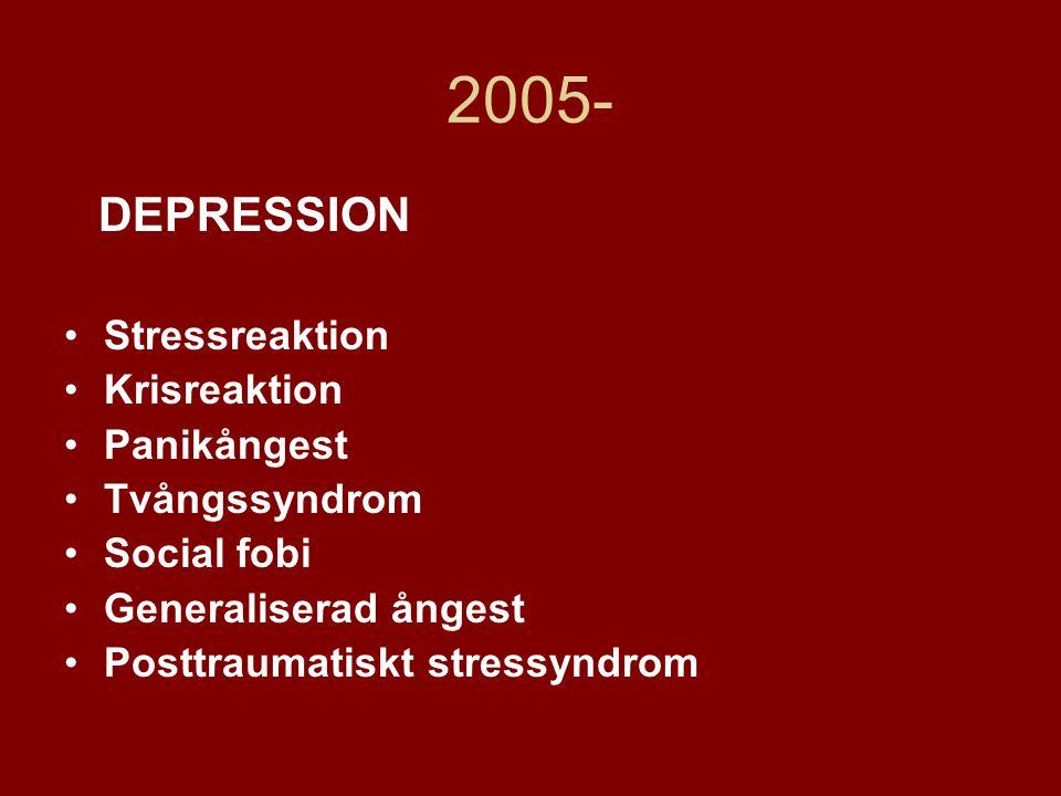 2005- DEPRESSION •Stressreaktion •Krisreaktion •Panikångest •Tvångssyndrom •Social fobi •Generaliserad ångest •Posttraumatiskt stressyndrom