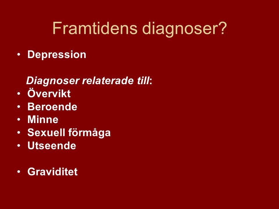 •Depression Diagnoser relaterade till: •Övervikt •Beroende •Minne •Sexuell förmåga •Utseende •Graviditet Framtidens diagnoser?