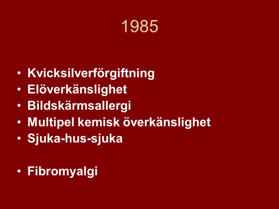 1985 •Kvicksilverförgiftning •Elöverkänslighet •Bildskärmsallergi •Multipel kemisk överkänslighet •Sjuka-hus-sjuka •Fibromyalgi