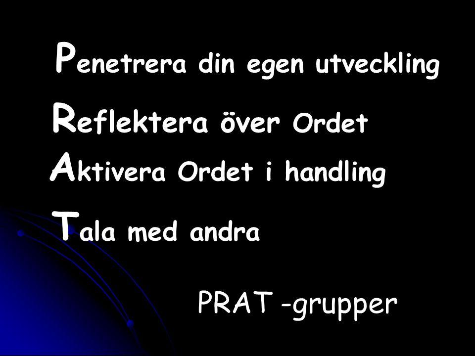 P enetrera din egen utveckling R eflektera över Ordet A ktivera Ordet i handling T ala med andra PRAT -grupper