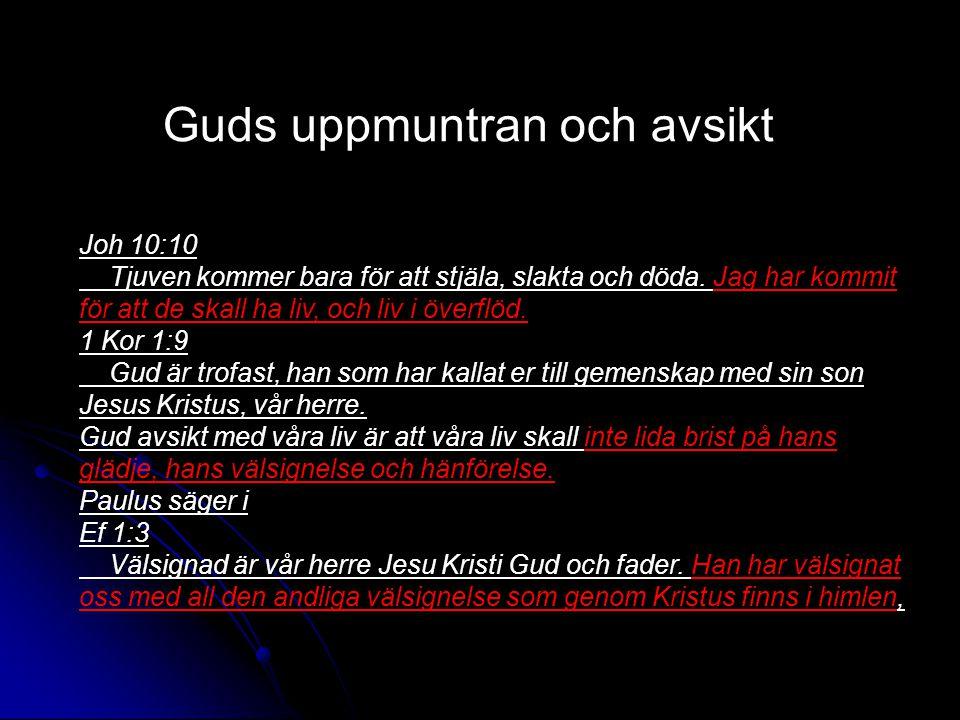 Guds uppmuntran och avsikt Joh 10:10 Tjuven kommer bara för att stjäla, slakta och döda.