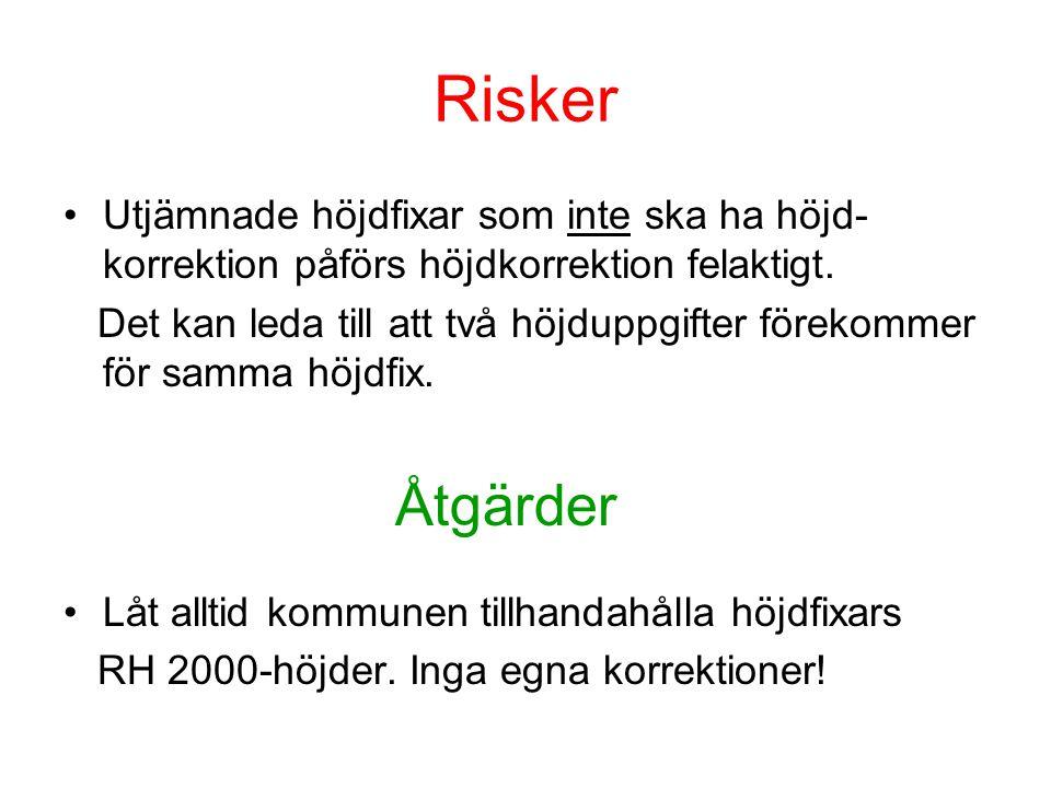 Risker •Utjämnade höjdfixar som inte ska ha höjd- korrektion påförs höjdkorrektion felaktigt. Det kan leda till att två höjduppgifter förekommer för s