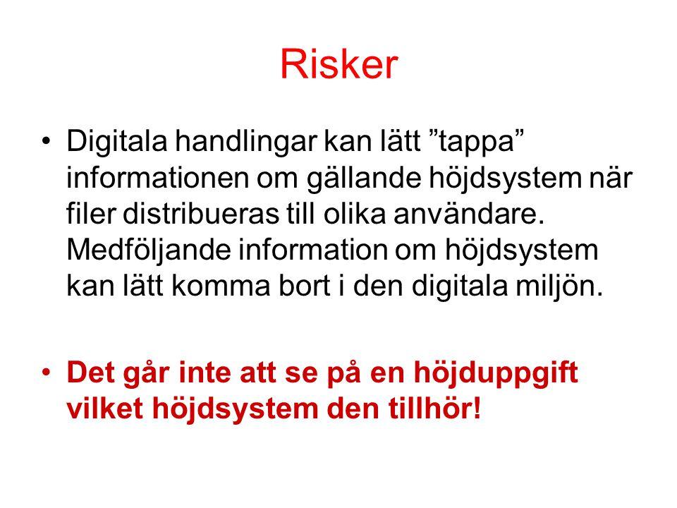 """Risker •Digitala handlingar kan lätt """"tappa"""" informationen om gällande höjdsystem när filer distribueras till olika användare. Medföljande information"""